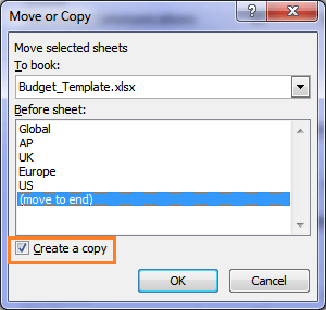 Excel move or copy dialog box