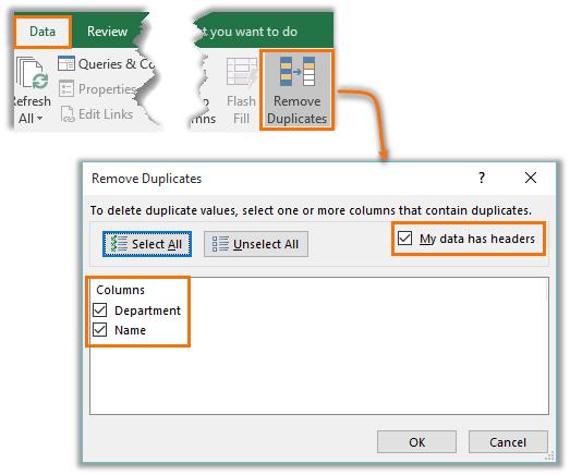 Remove Duplicates tool