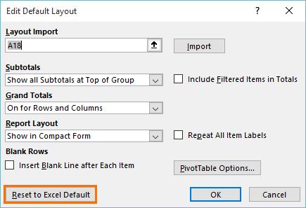 restore Excel default layout