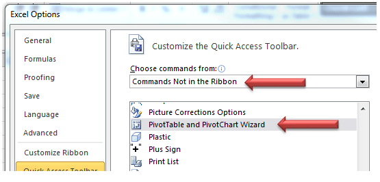 Excel Customize Quick Access Toolbar