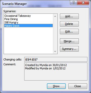 Excel Scenario Manager Dialog