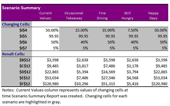 Excel Scenario Summary Report
