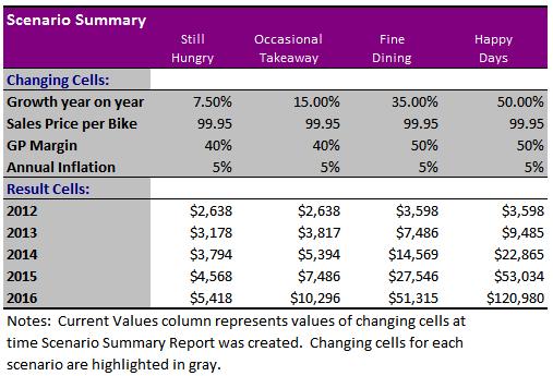 Excel Scenario Summary PivotTable report