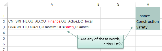 Check A Cell In Excel For The Presence Of A Word From A List