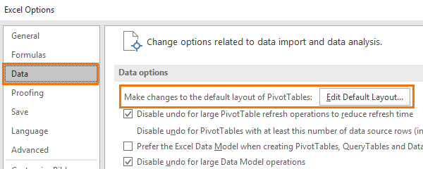 set Excel pivottable default layout