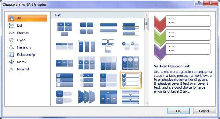 Microsoft Excel SmartArt Menu
