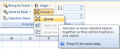 grouping excel shapes