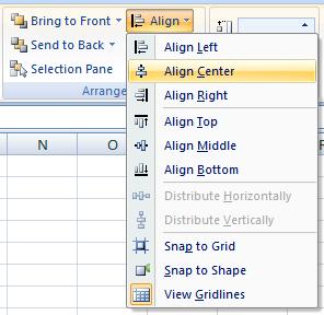 align excel shapes