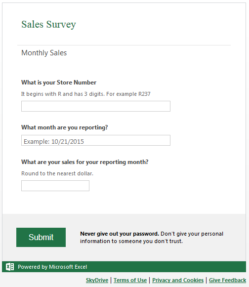 Excel Surveys