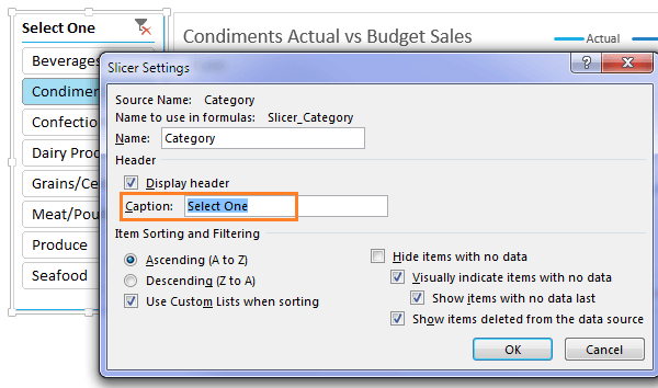 Change Excel Slicer caption