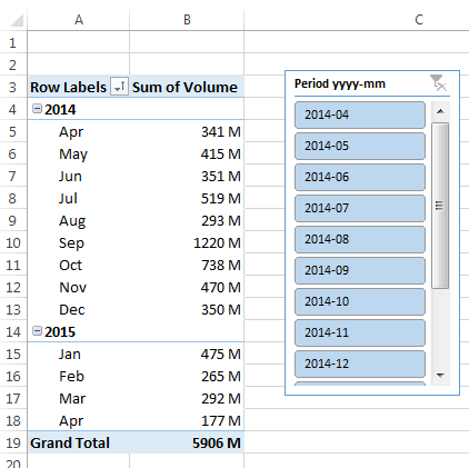 Create a Single Excel Slicer for Year and Month • My Online