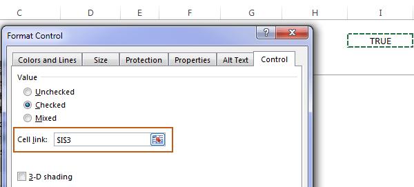 status of the check box