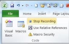 Stop recording a macro
