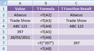 Excel T Function examples