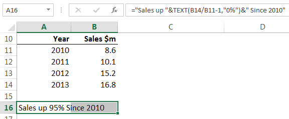 combine text and numbers in one cell using TEXT function