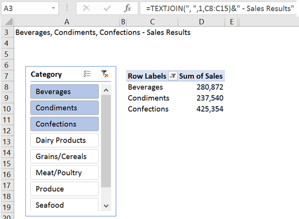 Excel TEXTJOIN function example