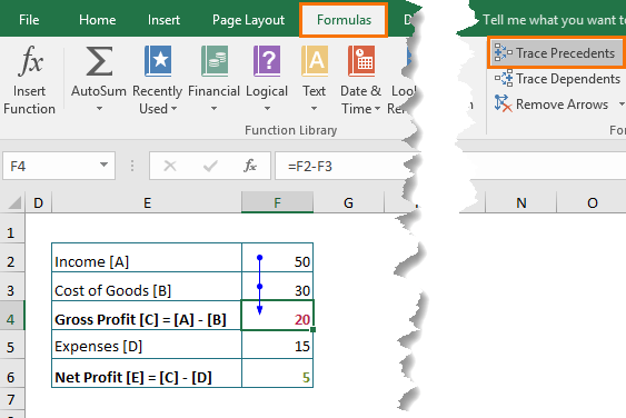 Highlight Cells Referenced in Excel Formulas with trace precedents
