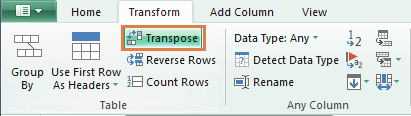 Power Query transform tab