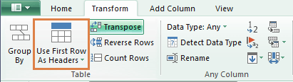 Power Query promote first row to headers