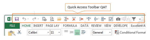 quick access toolbar QAT