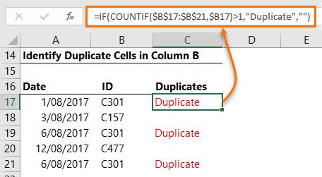 using COUNTIF to identify duplicates