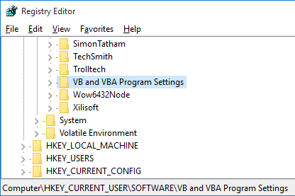 vb and vba program settings registry key