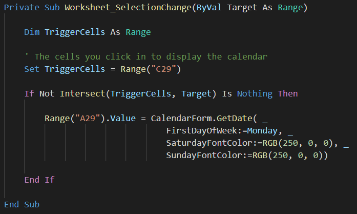vba code using worksheet event to show calendar when cell clicked