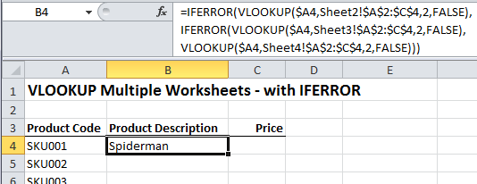 Excel Vlookup Multiple Sheets My Online Training Hub